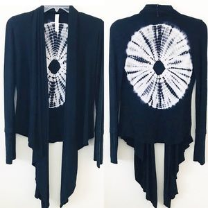 S-Twelve Navy blue tie-dye open cardigan sweater